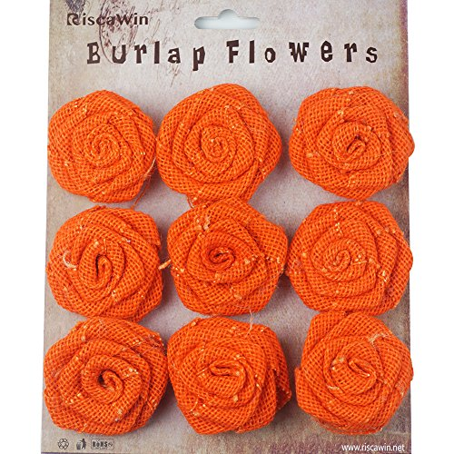(Burlap Rosette Embellishments for Weddings,RiscaWin Christmas Decorations Hair Accessories, Scrapbooking or Crafts - 9 Roses Per Pack(Orange))