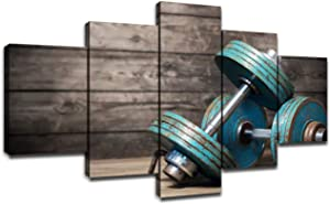 Vintage Fitness Equipment Canvas Prints Wall Art Large Poster with Frame Living Room Decor Picture Dumbbells on Wooden Floor Painting Artwork Bedroom Decoration Ready to Hang(60''Wx32''H)