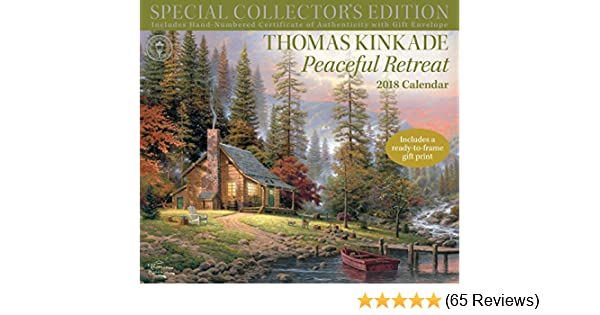 thomas kinkade special collectors edition 2018 deluxe wall calendar peaceful retreat