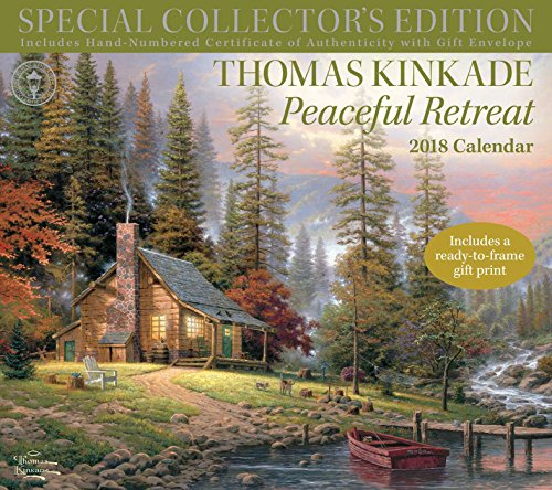 Thomas Kinkade Special Collector's Edition 2018 Deluxe Wall Calendar: Peaceful Retreat cover