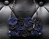 Iphone 6/6s Case, Multi-purpose Fashion Luxury Blue&Black Rose Diamond PU Leather Flip Wallet Credit Card Holder Women Handbag with Shoulder Chain Purse Bag Case