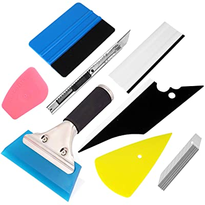 GUGUGI 8 PCS Vinyl Installation Tool Kit Vinyl Film Tools Kit for Vehicle Glass Protective Film Car Window Wrap with Felt Edge Squeegees, Scrapers, Film Cutters, Knife Blade, Water Blade: Automotive