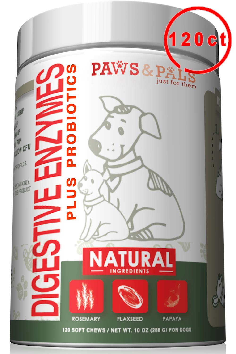 Dog Digestive Enzymes Plus Probiotics Soft Chew Vitamins with Rosemary, Flax Seed, Papaya - 120 Count by Paws & Pals