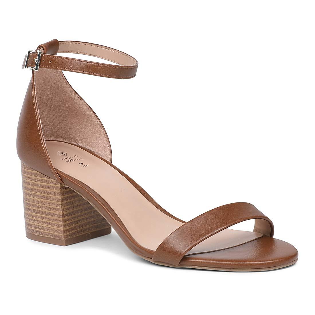 Call It Spring Mynah Brown Block Heels