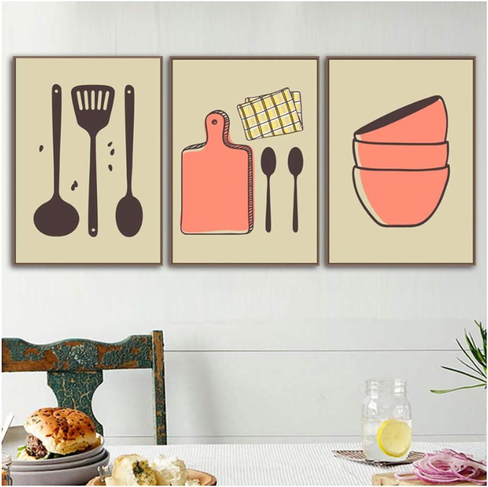 RUIQIN Impresiones en Lienzo Espátula Imágenes Arte de la Pared Tazón Pintura Decoración para el hogar Utensilios de Cocina Cartel de la Historieta 60x80cm Sin Marco Naranja