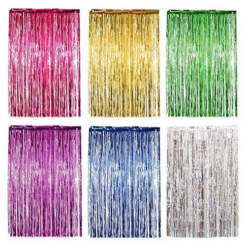 Hantier 6 Pack Foil Curtains Metallic Tinsel Foil Fringe Curtains Backdrop Decorations for Wedding/Birthday/Party/Christmas/Halloween (6 colors)