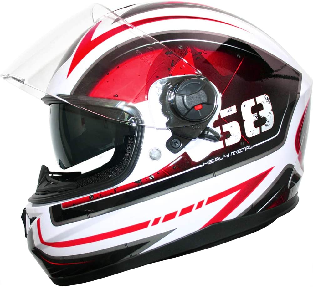 53-54cm Leopard LEO-828 Double Visor Full Face Motorbike Helmet - Motorcycle ECE 2205 Approved Matt Black XS