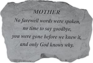 Kay Berry- Inc. 97820 Mother-No Farewell Words Were Spoken - Memorial - 16 Inches x 10.5 Inches x 1.5 Inches