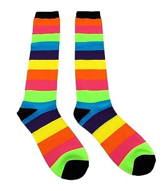 385b2186b1f1b Neon Rainbow Stripes Knee High Socks: Amazon.co.uk: Clothing