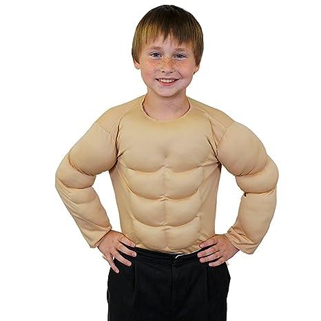 Childrens superhéroe músculos en el pecho parte superior