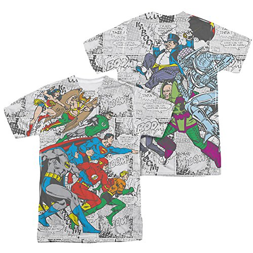 2 Sided Graphic T-shirt (DC Comics Justice League Face Off Comic Panels Adult 2-Sided Print T-Shirt Tee)