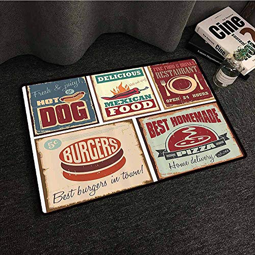 1950s Decor Interior Door mat Nostalgic Tin Signs and Retro Mexican Food Prints Aged Advirtising Logo Style Artistic Design Durable W35 xL47 Multi
