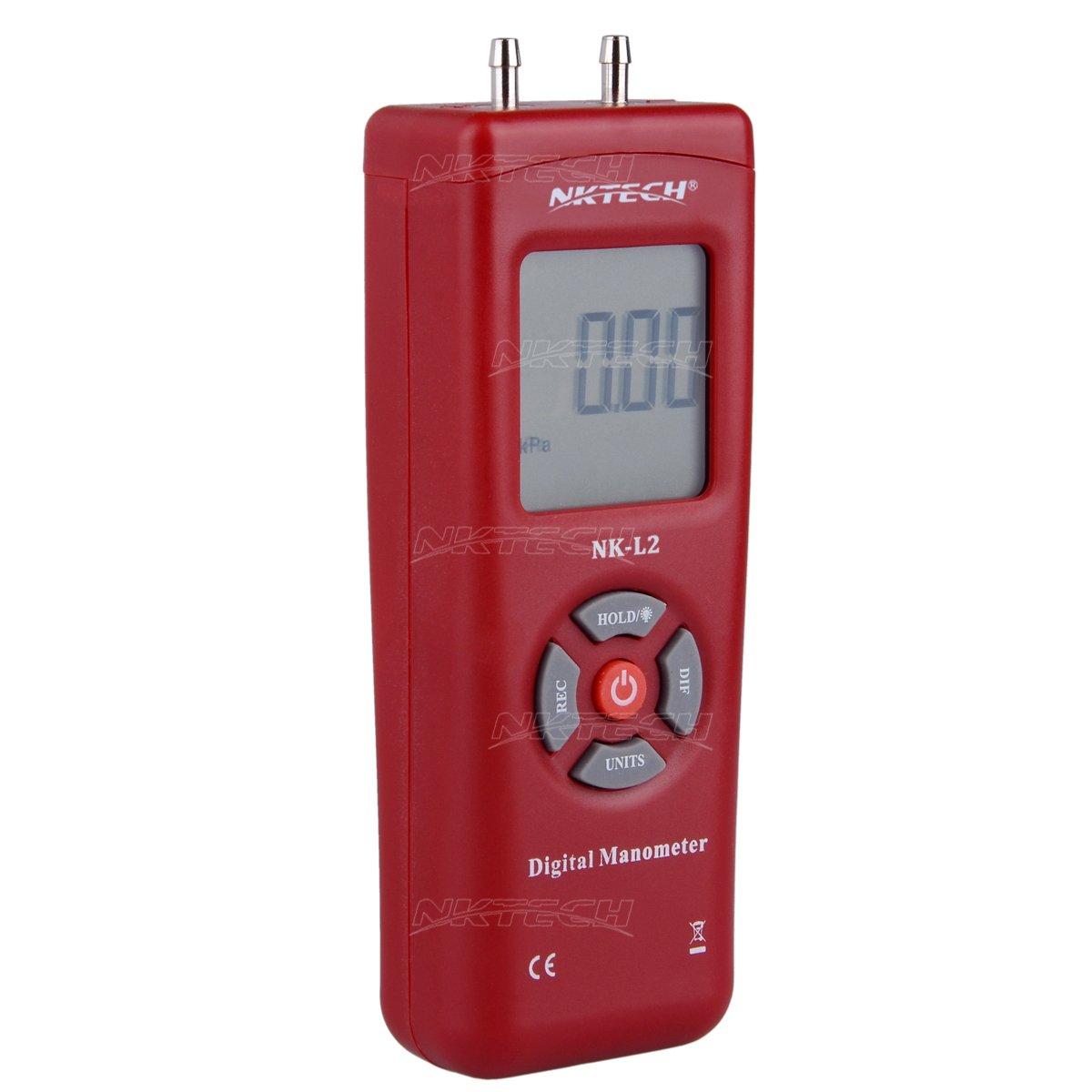 NK-L2-Red nktech 1890 Digital man/ómetro diferencial Medidor de presi/ón de aire calibres /± 13.79kpa /± 2psi /± 55.4h2o Gas Tester Gauge Medida 11 seleccionable de unidades