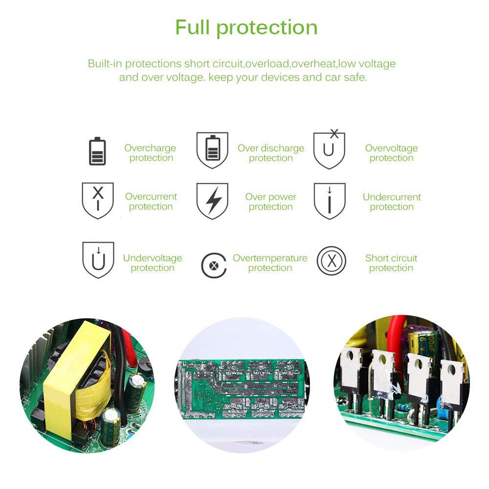 Konesky Convertisseur de Puissance de Voiture avec 4 interfaces USB pour Ordinateur Portable et appareils m/énagers 5000 W