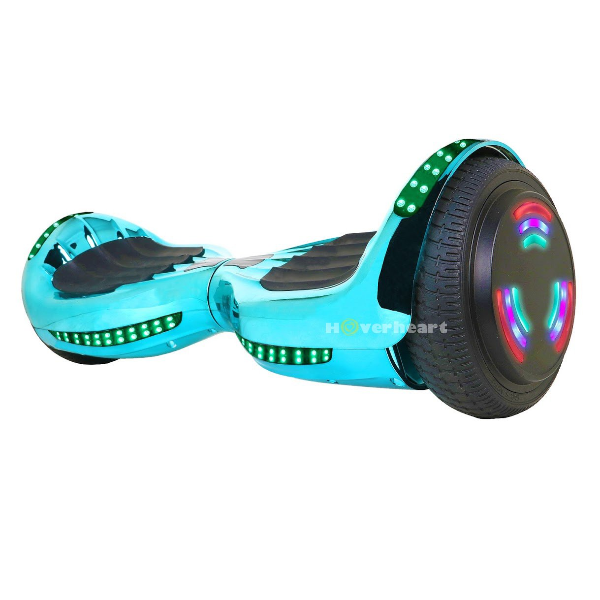 Hoverboard UL 2272 Certified Flash Wheel 6.5'' Bluetooth Speaker with LED Light Self Balancing Wheel Electric Scooter (Chrome Turquoise) by Hoverheart