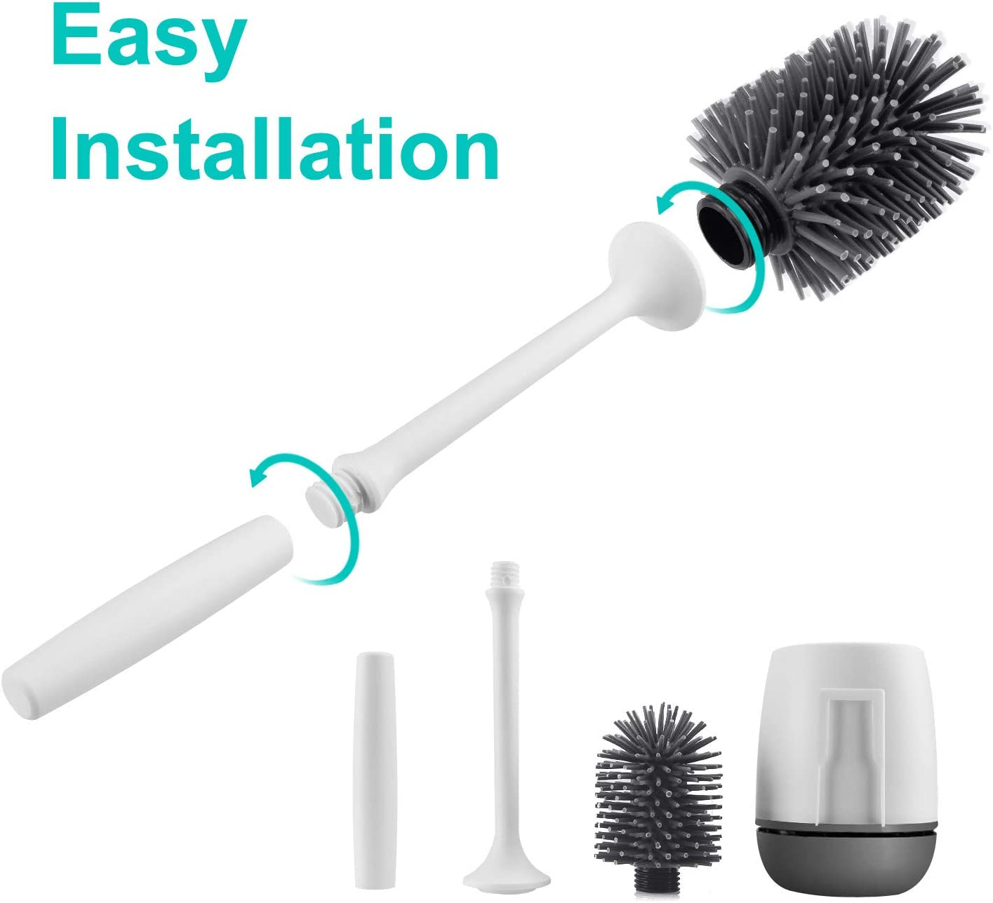 Grey No Scratch Soft Bristles AODOOR Silicone Toilet Brush and Holder Set Wall Mounted Bathroom Toilet Bowl Cleaner Brush with Holder Removable Water Drawer Quick Drying