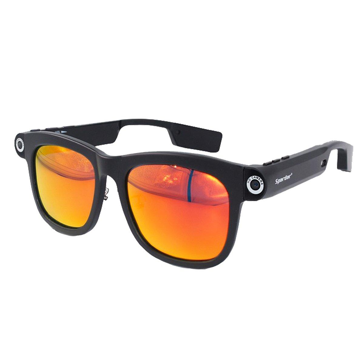 1280x720p CSR4.0 Bluetooth 8GB TFカード 内蔵 ビデオメガネネ サングラス UV400 偏光 サングラス (8G-Red Orange) B078NSJ65H 8G-Red Orange 8G-Red Orange