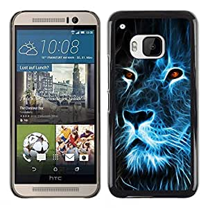Impact Case Cover with Art Pattern Designs FOR HTC One M9 Lion Blue Fire Burning Eyes Art Drawing Betty shop