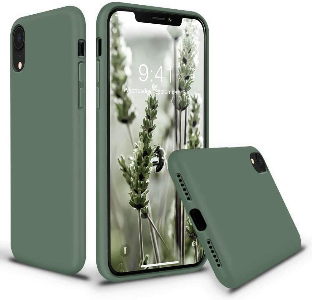 Vooii iPhone XR Case, Soft Liquid Silicone Slim Rubber Full Body Protective iPhone XR Case Cover (with Soft Microfiber Lining) Design for iPhone XR - Pine Green