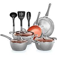 NutriChef Nonstick Cookware Excilon |Home Kitchen Ware Pots & Pan Set with Saucepan Frying Pans, Cooking Pots, Lids…