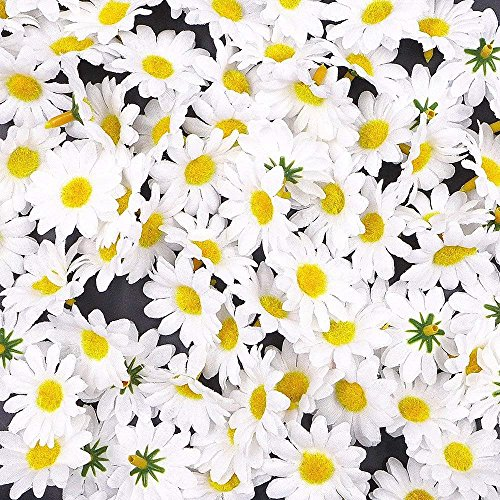 BABYHYY 100 x Artificial White Craft Daisy Daisies Fabric Flowers Heads, Party Wedding Table Scatters Confetti Scrapbook Accessory Invitation Card Decoration Craft Gadget