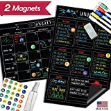 Magnetic Dry Erase Fridge Calendar - 17'' x 11'' - Large Reusable Multi-Purpose Black Chalkboard - Weekly Monthly To Do Chore Reminder Shopping - 2018 Kitchen Gift Set - Best Supplies For Smart Planners