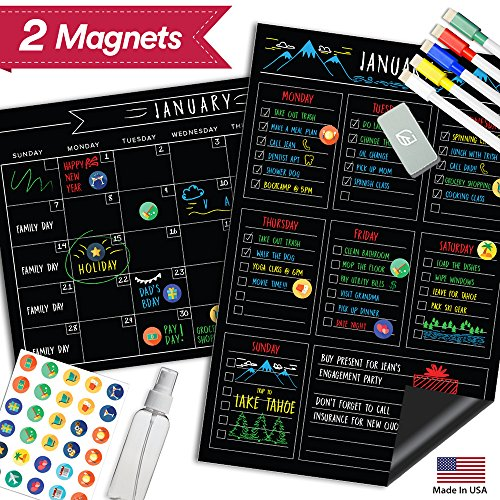 "Magnetic Dry Erase Fridge Calendar - 17"" x 11"" - Large Reusable Multi-Purpose Black Chalkboard - Weekly Monthly To Do Chore Reminder Shopping - 2018 Kitchen Gift Set - Best Supplies For Smart Planners"