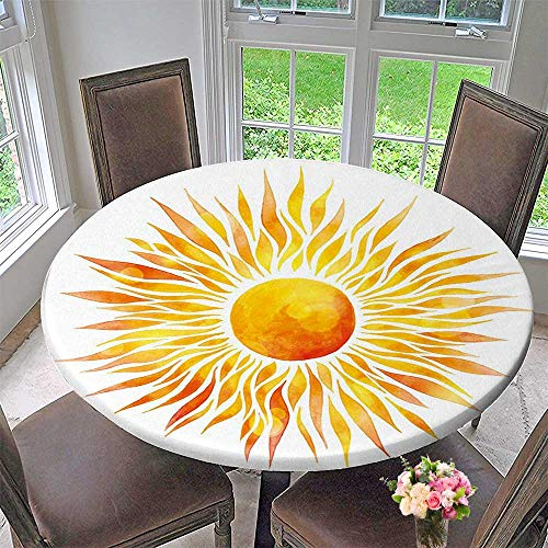 Round Polyester Tablecloth Table Cover Orange Graphic Sunburst s with RaysWeather time Orange Yellow for Most Home Decor 47.5
