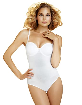 e01806feaa79d Body Wrap Shapewear White The Strapless Pin Up with Moulded Cups Bodysuit  49400 X-Large 16 UK  Body Wrap  Amazon.co.uk  Clothing