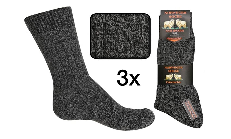 3er Pack oder 6er Pack Herren Norweger-Socken anthrazit dicke warme Strickware Thermo-Socken Plüsch-Socken Grösse 39/42 oder 43/46