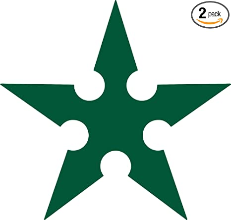 Amazon.com: ANGDEST Ninja Star Silhouette (Green) (Set of 2 ...