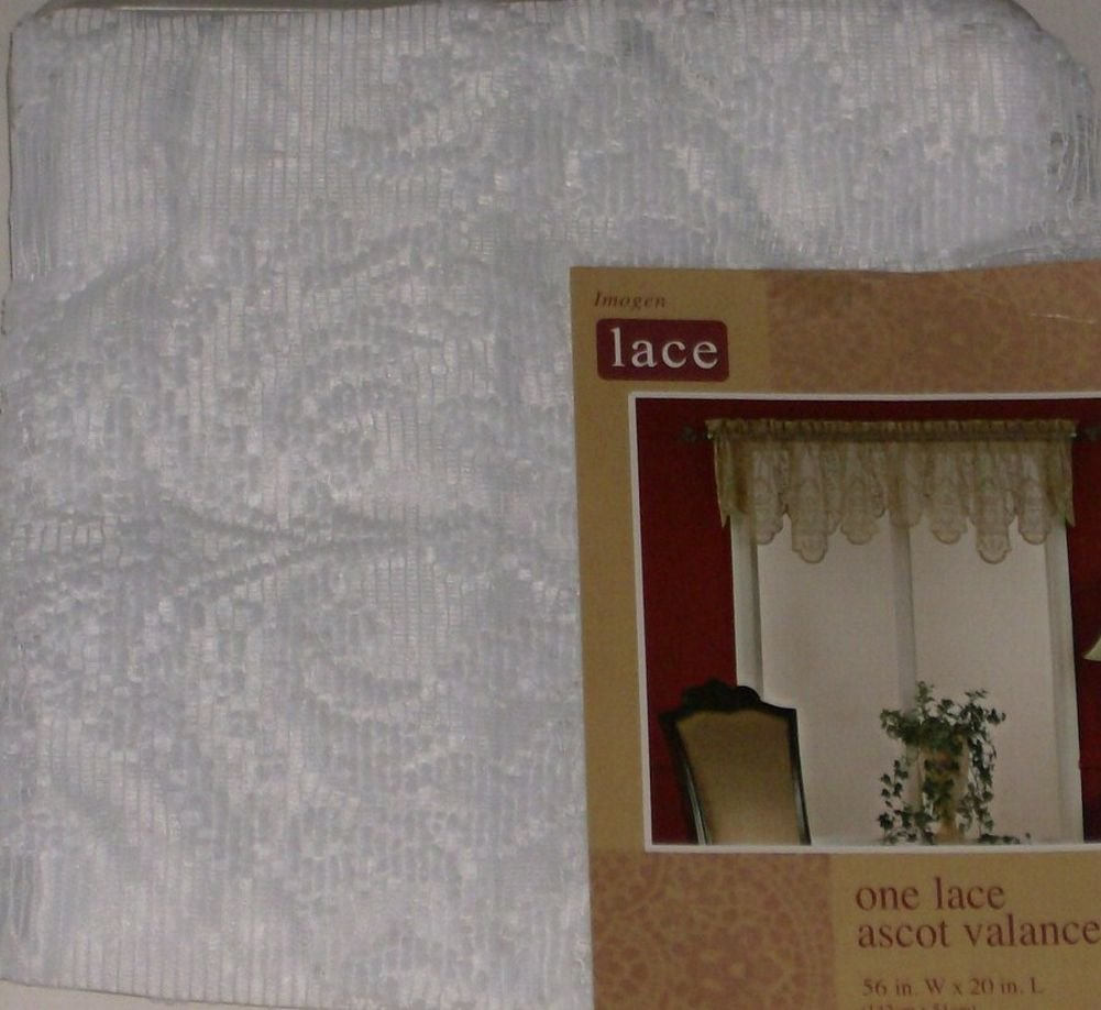 Home Imogen White Lace Ascot Window Valance Curtain Topper