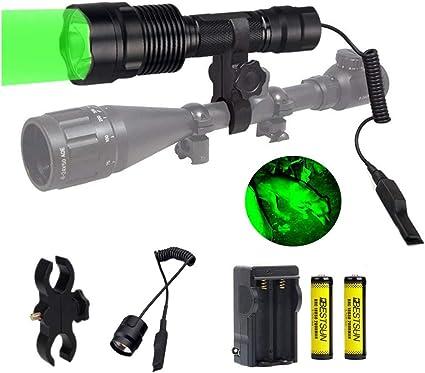 300Yards Tactical Hunting Flashlight 501B LED Rifle Gun Light Scope Mount Switch