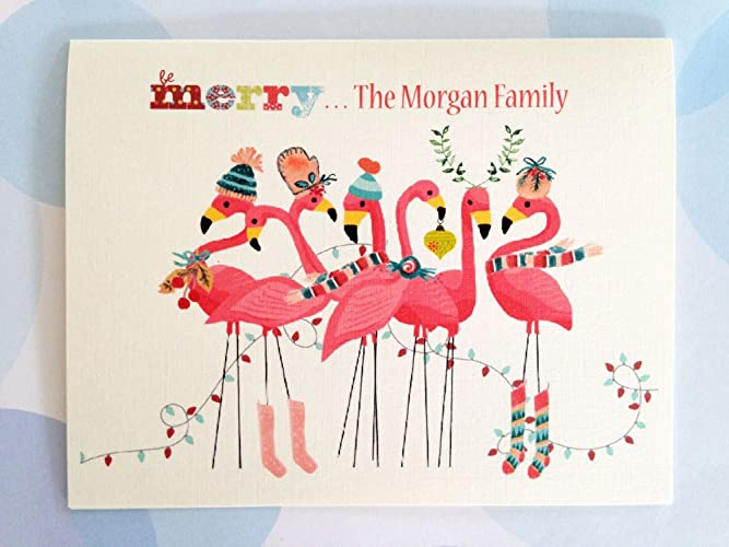Flamingo Christmas Cards.Amazon Com Pesonalized Christmas Cards Custom Holiday