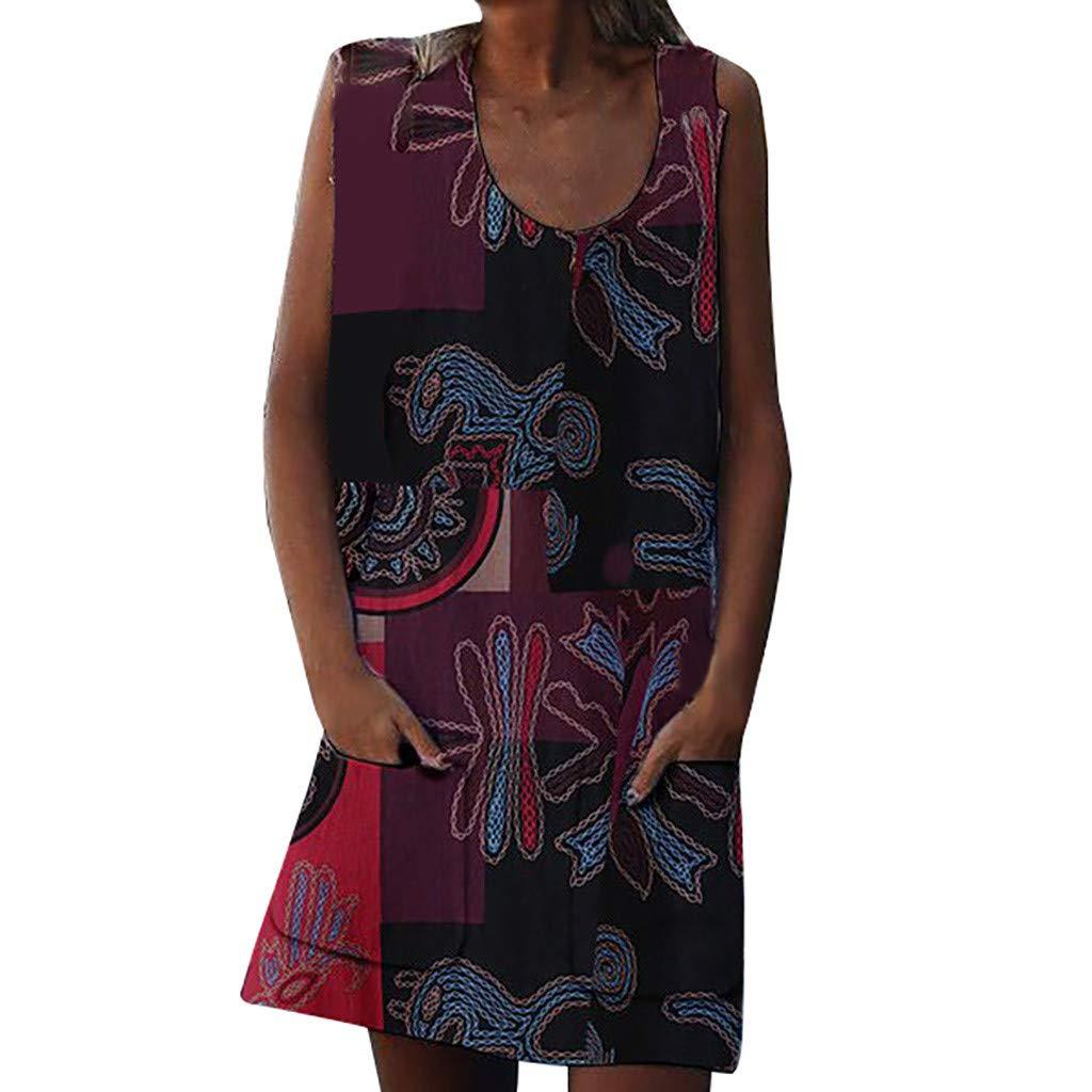 NRUTUP Women Summer Dresses O Neck Vintage Print Sleeveless Zipper Pocket Dresses Party Beach (Red,XL)