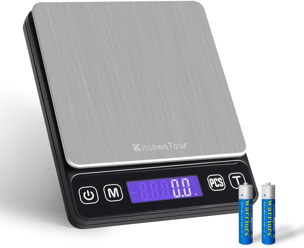 Digital Postal Scale - 0.001oz 3000g Small Portable Electronic Pocket Scale with Back-Lit LCD Display (Batteries Included)