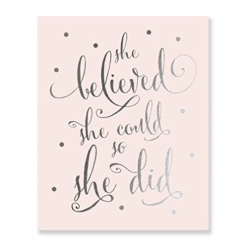 Amazon Com She Believed She Could So She Did Silver Foil Art Pink