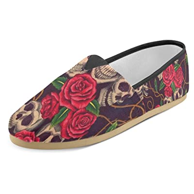 Roses and Skulls Slip On Canvas Upper Loafers Canvas Shoes for Women Comfortable