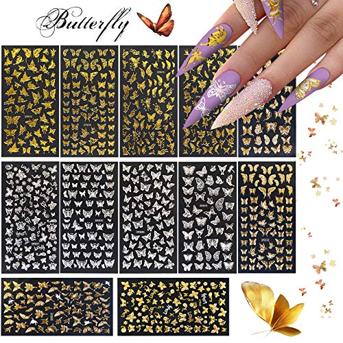 Kalolary 12 Sheets Butterfly Nail Art Stickers Decals, 3D Gold Silver Self-Adhesive Butterflies Nail Sticker Decals Butterfly Nail Design Sticker Butterfly Nail Decorations Accessories Kit