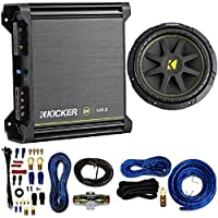 Kicker 125W RMS 2-Channel DX Series Amplifier W/ Kicker Comp 10-Inch Subwoofer 4 Ohm (Black) 4 Gauge Amp Kit