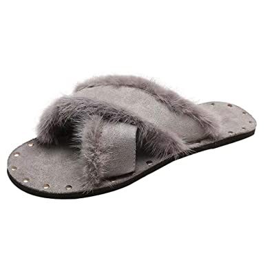 Zapatos de Mujer, ASHOP Casual Planos Loafers Mocasines de Puntera otoño Invierno Botas de para Mujer caseros Felpa Pantuflas Calientes Slippers: Amazon.es: ...
