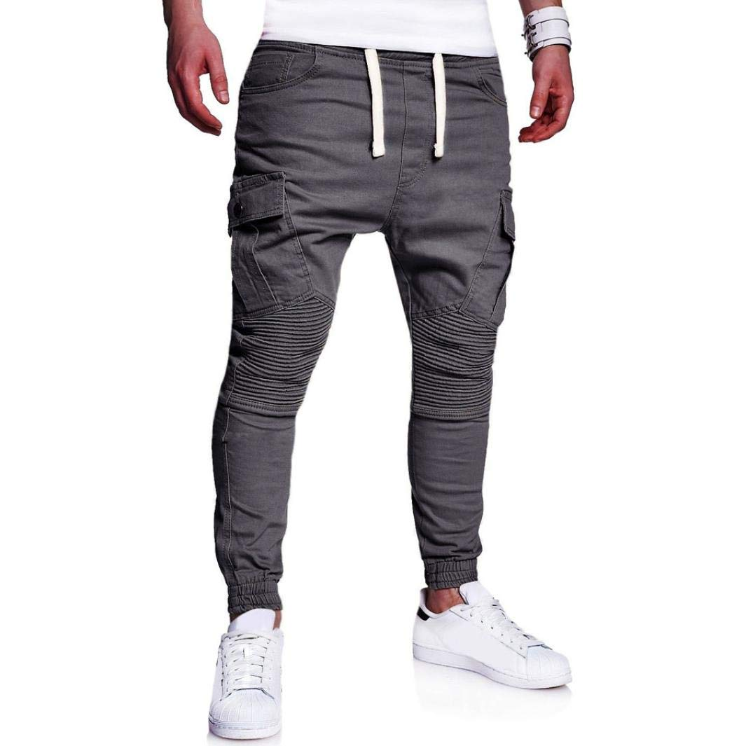Realdo Hot!Clearance Sale Fashion Men's Sport Joint Lashing Belts Casual Loose Drawstring Jogger Pant(X-Large,Gray)