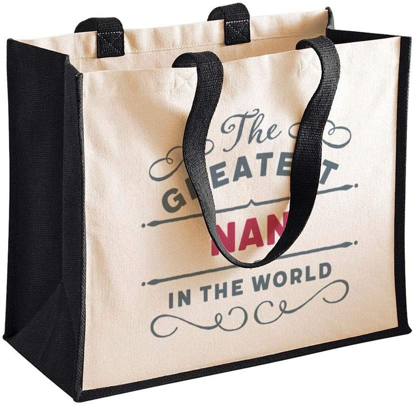 Regalo de Nan, bolsa de cumpleaños, regalo personalizado fantástico para Navidad, Navidad o Día de la Madre, regalo divertido y novedoso de Niece Nan Keepsake 42 x 33 x 19cm negro