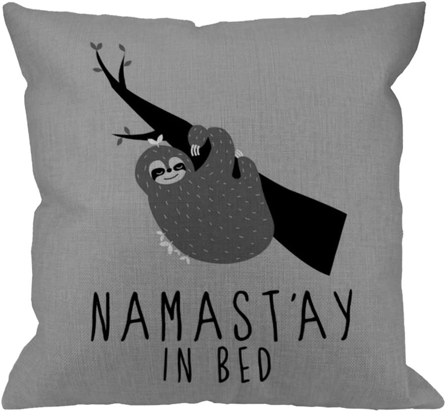 HGOD DESIGNS Throw Pillow Case Namastay in Bed Sloth Cotton Linen Square Cushion Cover Standard Pillowcase for Men Women Home Decorative Sofa Armchair Bedroom Livingroom 18 x 18 inch