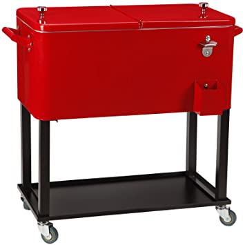UenJoy Rolling Ice Chest Portable Patio Party Drink Cooler Cart, 80 Quart,  Red
