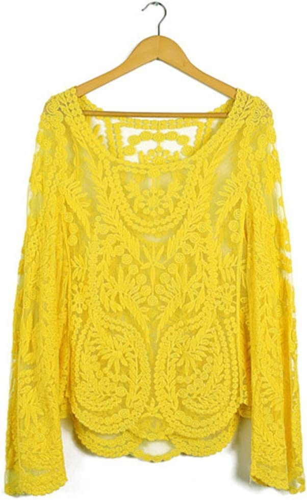 Seawhisper Cubierta Bikini Blusa para mujer,sexy del cordón del ganchillo del bordado floral flojo Top de manga larga T-shirt de la Tee camisa Camiseta multicolor - amarillo ,40: Amazon.es: Deportes y aire