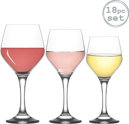 Lav Ella - Juego de Copas de Vino pequeñas, Medianas y Grandes - Pack de 18: Amazon.es: Hogar