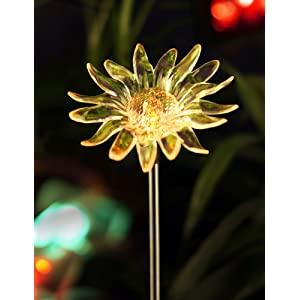 bright zeal solar powered garden stake light with vivid figurines in life sizes sunflower - Solar Garden Decor