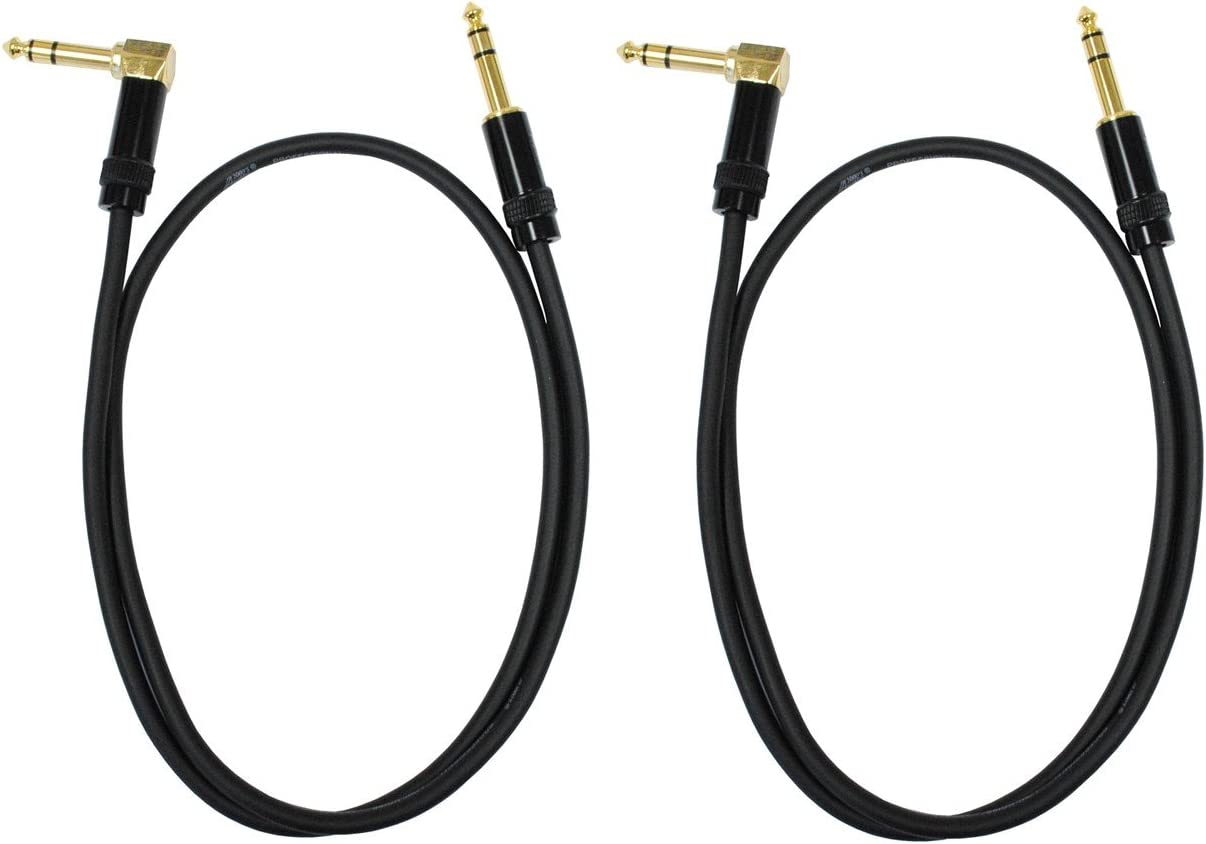 Audio 2000s E26103P2 1//4 TRS Right Angle to 1//4 TRS 3 Feet Cable