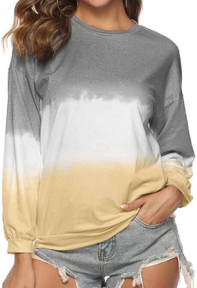 Fubotevic Women T-Shirt Gradient Color Long Sleeve Loose Plus Size Sweatshirt Pullover